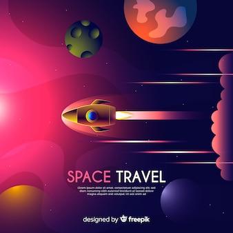 ロケットの背景を持つグラデーション銀河