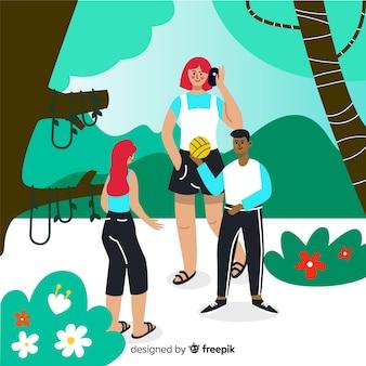 Ручной обращается люди в парке фоне