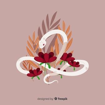 花と美しい手描きのヘビ