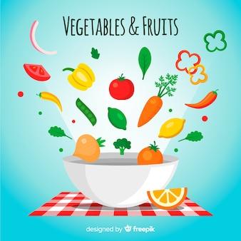 平らな果物と野菜の背景