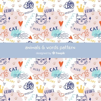 Красочный рисунок кошки и слова шаблон