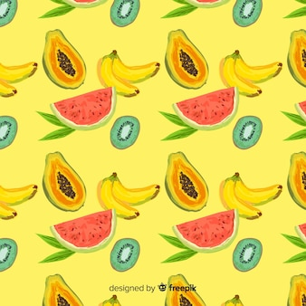 手描きのトロピカルフルーツパターン