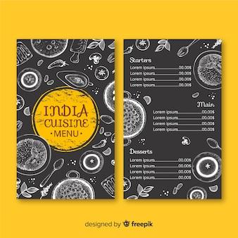 Нарисованный рукой шаблон меню индийского ресторана