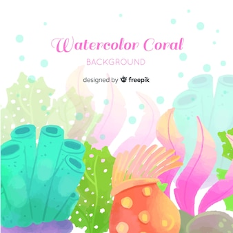 水彩のカラフルなサンゴの背景