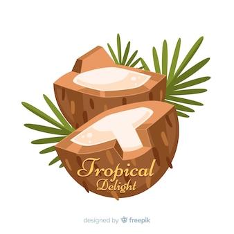 手描きのココナッツの葉の背景