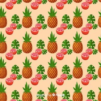 手描きパイナップルとグレープフルーツのパターン