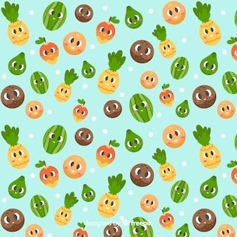 Плоские милые тропические фрукты шаблон