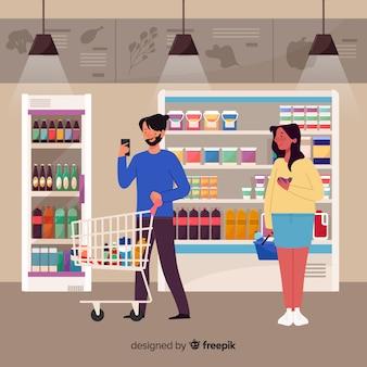 Люди покупают в супермаркете