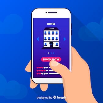 平らな携帯電話のホテル予約の背景