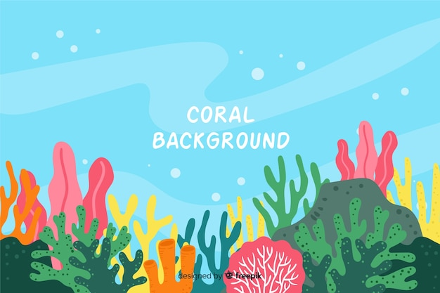 カラフルな手描きの水中サンゴの背景