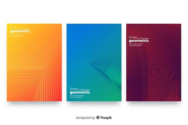 幾何学的な線のパンフレットセット