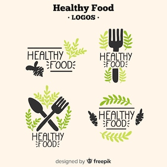 Рисованной здоровой пищи логотипы