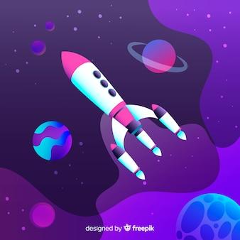 ロケットとグラデーション空間の背景