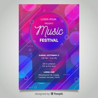 Абстрактный градиент музыкальный фестиваль постер