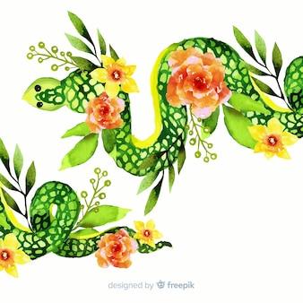 花のイラストと水彩のヘビ