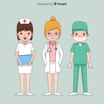 Нарисованная рукой команда медсестры