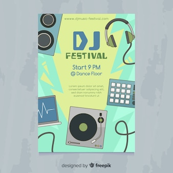 Нарисованный от руки плакат музыкального фестиваля