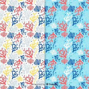平らなカラフルなサンゴパターンパック