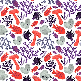 Плоский цветной узор с кораллами и рыбками