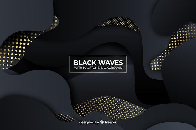 ハーフトーン効果と暗い波状の背景