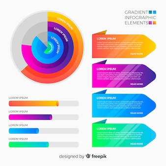 グラデーションインフォグラフィック要素セット