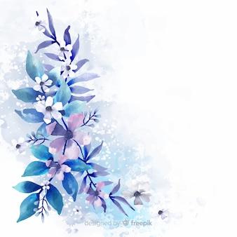 水彩花と葉