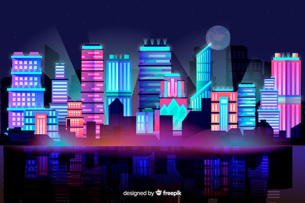 未来的な街のスカイラインの背景