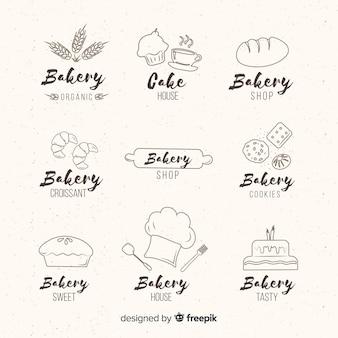 Ручной обращается хлебобулочные логотипы
