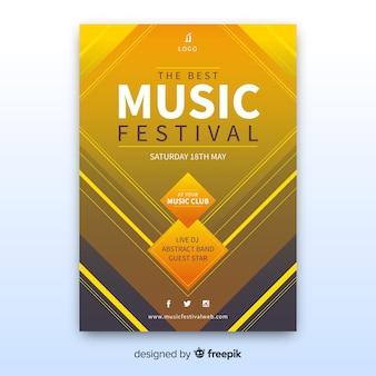 抽象音楽祭ポスターテンプレート