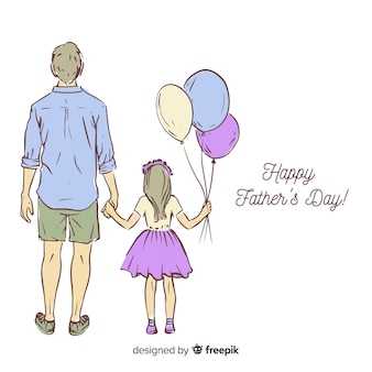 手描きの父親の日の背景