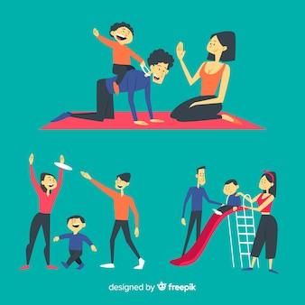 野外活動をしている手描きの家族