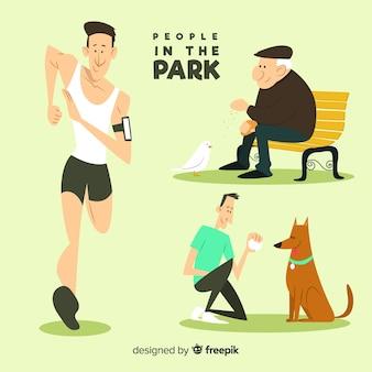 公園で描かれた人々を手します。