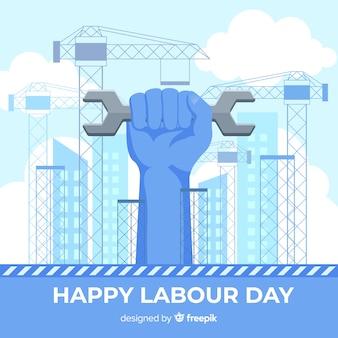 モンキーレンチ労働日の背景を持っている手