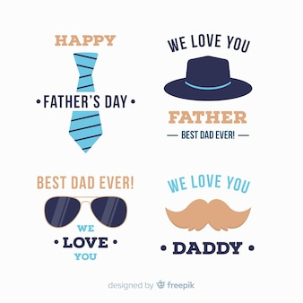 Плоская коллекция значков день отцов