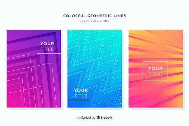 カラフルな幾何学的な線のパンフレットセット
