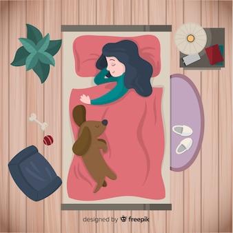 Плоский человек спит в постели