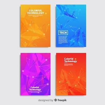 カラフルなテクノロジーのパンフレットセット