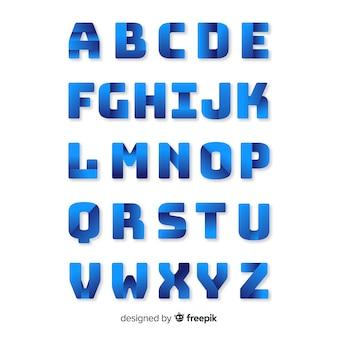 モノクログラデーションアルファベットテンプレート