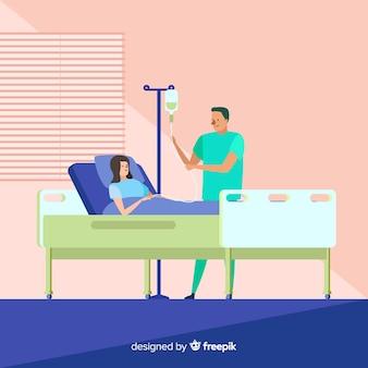 Плоская медсестра помогает пациенту