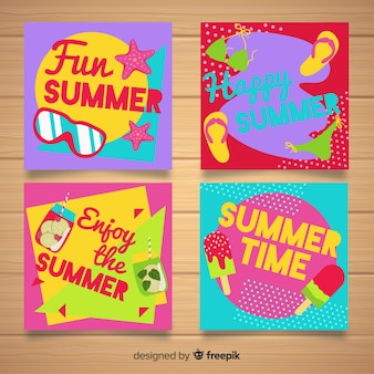平らな夏カード