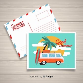 Плоская летняя праздничная открытка