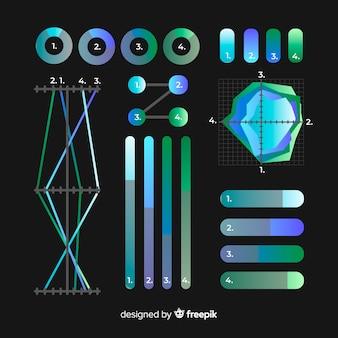 平らなグラデーションインフォグラフィック要素