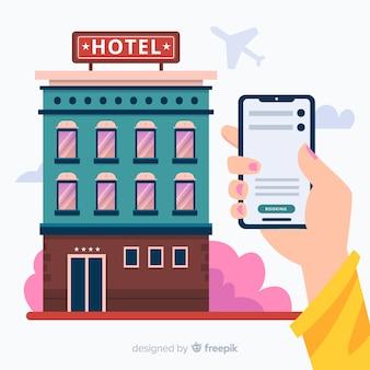 Плоский отель бронирование концепции фон