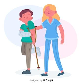 Нарисованная рукой медсестра помогая пациенту