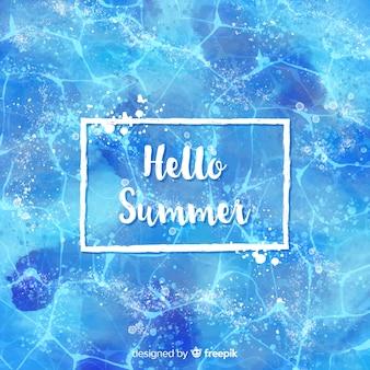 こんにちは夏の水彩画の背景