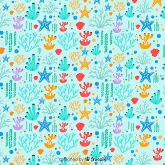 手描きのカラフルなサンゴの背景