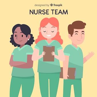 手描きの看護師チームの背景