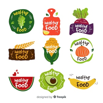 Плоские логотипы здоровой пищи