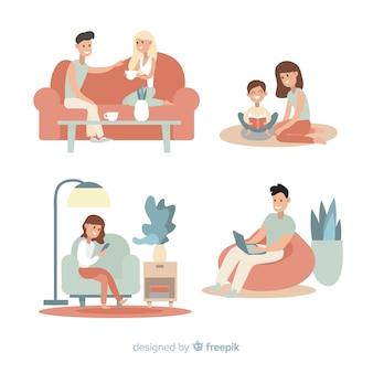 自宅で活動をしている若いカップル