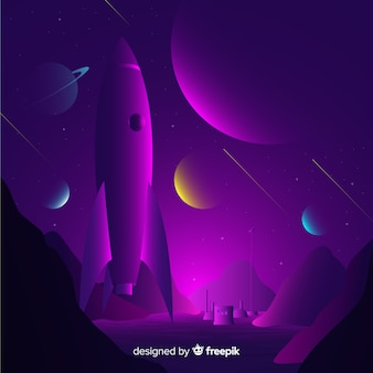 暗いグラデーションロケットの背景